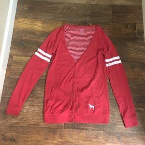 Red Collegiate Washington State Cougar Cardigan